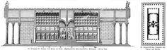 Temple of Venus and Roma, elevation and interior, as reconstructed by Meyer. The domed hemicyclia in the middle are from the Maxentian restoration. The original Hadrianic design was more Greek and less Roman. The Emperor Hadrian was a 'philhellene. Venus, Portal, Architect Drawing, Roman Architecture, Ancient Rome, Roman Empire, Temple, Greece, Restoration