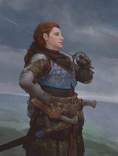 Female human, dwarf redhair blueeyes paleskin cleric, fighter, rogue lightarmor, gambeson, leather, mediumarmor, hide dagger, rapier nomagic nopet nomount threefourthsview