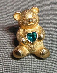 Vintage Avon Topaz Blue Birthstone Teddy Bear Tack by GoldenCache, $11.95