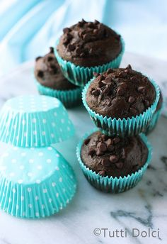 Chocolate-Banana Muffins - sweetened with honey and ripe bananas, these chocolate muffins are the best!