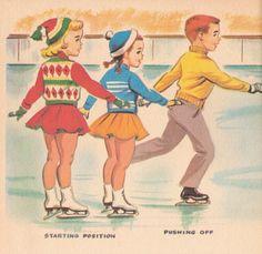 Little Skater Rand McNally Elf Book Illustrated by Dorothy Grider Vintage 1959 Images Vintage, Vintage Christmas Images, Vintage Pictures, Family Illustration, Cute Illustration, Vintage Children's Books, Vintage Cards, Vintage Paper, Skate Art