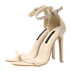 Ankle Strap Mini Heel Sandals ($39) ❤ liked on Polyvore featuring shoes, sandals, miniature shoes, ankle tie shoes, ankle strap shoes, heeled sandals and ankle wrap sandals