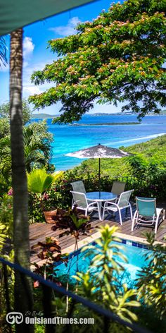 Stunning view from the B&B, Estate Lindholm on St John, USVI. Want to know more ... http://onislandtimes.com/st-john-bed-and-breakfasts/