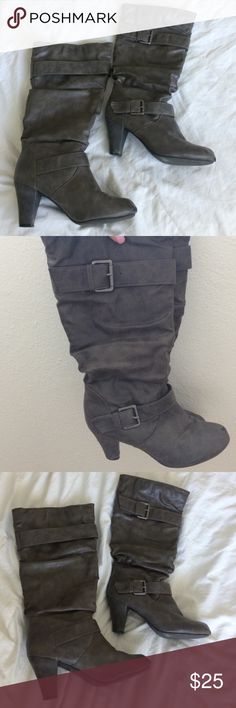 Madden Girl boots Adorable and perfect for fall! Gray Madden Girl boots with a small heel. Lovingly worn but still lots of life in them. Heels are in great shape. Make an offer! Madden Girl Shoes Heeled Boots