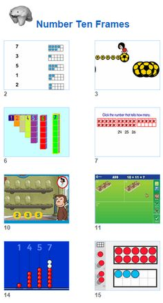 Math Number Tens Frames activities for kids and their teachers from Johnnie's Math Page