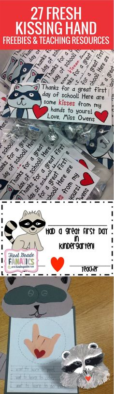 27 Kissing Hand Freebies and Teaching Resources - these are perfect for the first day or two of kindergarten and first grade!