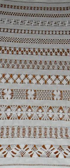 Sampler --- bainhas abertas - jours à fils tirés - drawnwork - vainillas, vainicas - sfilature - Hohlsaumstickerei / Durchbruchstickerei - - - BAÍNHAS+ABERTAS+BLOG.jpg 489×1,161 píxeles