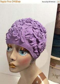 "20% OFF SALE Vintage 1950s Purple Lilac Rubber Swim Cap with ""All Over"" Dimensional Roses"
