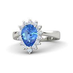 Pear Blue Topaz 18K White Gold Ring with Diamond | Pear Ballerina Ring | Gemvara