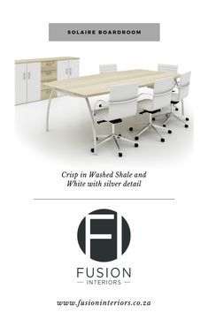 Solaire Boardroom table. Available in 6-12 seater. Various side cabinets and chairs available.  Visit our website: www.fusioninteriors.co.za Office Desk, Cabinets, Chairs, Website, Interior, Table, Furniture, Home Decor, Armoires