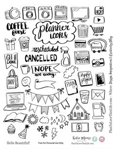 Free Printable Hand Drawn Planner Icons from Plan to Love This Life store checko. - sketchbook drawings - Free Printable Hand Drawn Planner Icons from Plan to Love This Life store checkout required - Bullet Journal Ideas Pages, Bullet Journal Inspiration, Bullet Journal Icons, Bullet Journal Printables, Bullet Journals, Bullet Journal Layout Templates, Bullet Journal Headers, Bullet Journal Banner, Planner Doodles