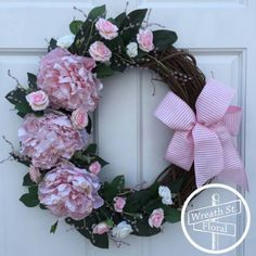 Valentine Wreath Pink Wreath Peony Wreath by WreathStreetFloral
