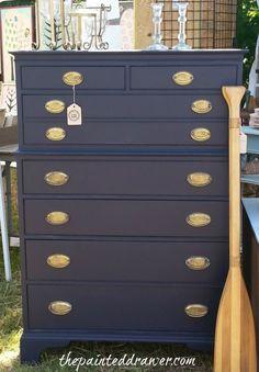 Navy Dresser www.thepainteddrawer.com. Suzanne