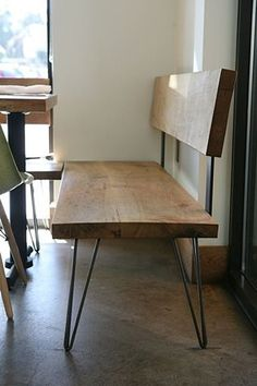 omg. wooden bench with hair pin legs. This will go with my kitchen table.