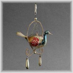 Alte Viktorianische Vogel CBS Lauscha mit Leonischen drähten um 1890 Jugendstil