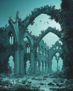 La Cathédrale Engloutie (Underwater Cathedral), 2012 © Didier Massard- Amazingly Constructed Dioramas of Extraordinary Imaginary Worlds Abandoned Buildings, Abandoned Mansions, Abandoned Places, Under The Water, Under The Sea, Underwater City, Underwater Tattoo, Atlantis, Beautiful Places