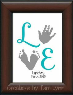 Baby Girl LOVE Footprint & Handprint by CreationsbyTamiLynn by wylene - Kinder Ideen Mothers Day Crafts, Valentine Day Crafts, Holiday Crafts, Valentines, Baby Hand And Foot Prints, Baby Prints, Newborn Crafts, Baby Feet Crafts, Crafts To Do