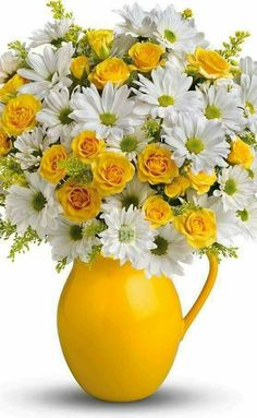 teleflora sunny day pitcher of daisies bouquet Happy Flowers, Fresh Flowers, Yellow Flowers, Silk Flowers, Spring Flowers, Beautiful Flowers, Yellow Vase, Easter Flowers, Deco Floral