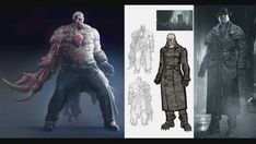 View an image titled 'Tyrant Art' in our Resident Evil 2 art gallery featuring official character designs, concept art, and promo pictures. Monster Concept Art, Game Concept Art, Monster Art, Resident Evil Tyrant, Resident Evil Monsters, Resident Evil 3 Remake, Resident Evil Game, Beast Creature, Evil Art