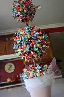 Lollipop topiary. Love this idea.  Great for a birthday party!!