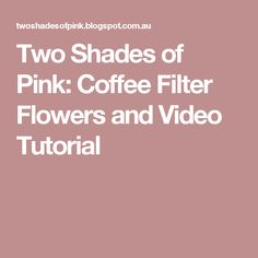 Two Shades of Pink: Coffee Filter Flowers and Video Tutorial