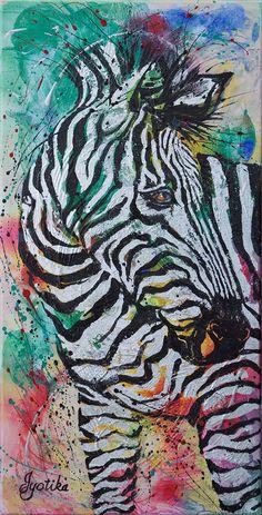 Zebra Looking Back 15 x 30 Acrylic