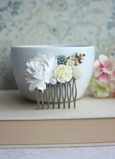 Large Dusty White Rose, Dusty Blue, Ivory Rose, Ivory Pearl Brass Oak Leaf Flower Wedding Comb. Bridesmaids Gift. Country Wedding on Etsy, $26.00