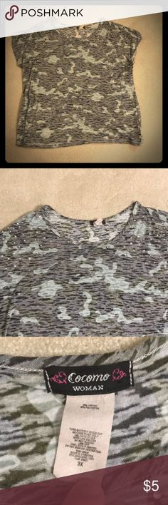 Camo top Cute camo tee with jewels on shoulders. Says but fits more like a  REPOSH Chest Length Cocomo Tops Tees - Short Sleeve 7b3cc3eae