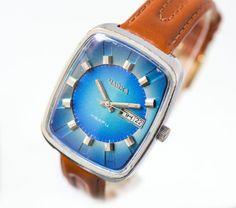Rare electro\mechanical watch Chaika, chunky men's watch, quartz rectangular watch USSR, early quartz watch blue, premium leather strap new