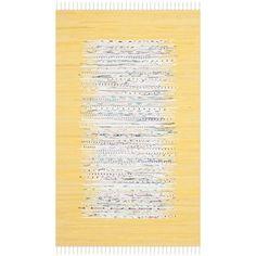 Safavieh Hand-woven Montauk Ivory/ Yellow Cotton Rug (3' x 5')