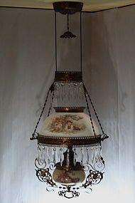 Antique Victorian Bradley Hubbard Hanging Kerosene Lamp