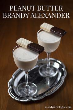 Peanut Butter Brandy Alexander - Moody Mixologist Chocolate Cocktails, Chocolate Liqueur, Frozen Chocolate, Frozen Drink Recipes, Milkshake Recipes, Cocktail Desserts, Dessert Drinks, Craft Cocktails, Cocktail Recipes