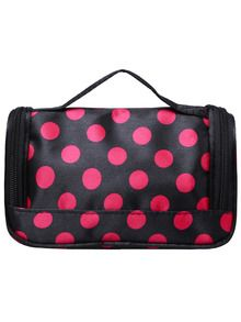 81422d8c8a Black Polka Dot Zipper Cosmetic Bag Train Case