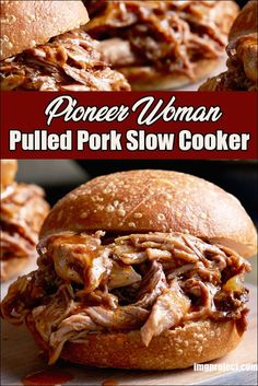 Slow Cook Pulled Pork Recipe, Pulled Pork Recipes, Crockpot Pork Recipes, Crock Pot Pulled Pork, Pulled Chicken, Slow Cooker Pork Tenderloin, Slow Cooker Roast Pork, Sandwiches, Pioneer Woman Pulled Pork Recipe
