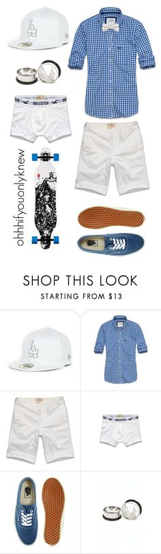 """Untitled #135"" by ohhhifyouonlyknew ❤ liked on Polyvore featuring Abercrombie & Fitch, Hollister Co., Vans, my creations, new era, summer, bow tie, cute, dyke and a&f"