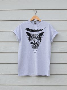 Owl Feather Tee, By Ben Prints On Etsy