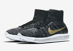 The Nike LunarEpic Flyknit BHM (Style Code: 881681-007) celebrates Black History Month with a premium Black/Anthracite Flyknit and Metallic Gold branding.