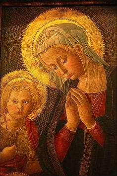 Pier Francesco Fiorentino - Madonna in Adorazione di Gesu Bambino con San Giovannino - 14 secolo - Museo Bandini, Fiesole