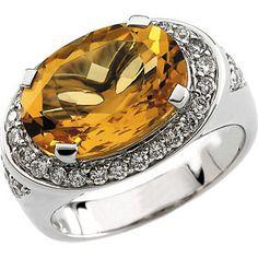 14K White Gold Genuine Citrine and Diamond Ring $1,183.00