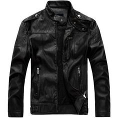 European American Style Thicken Warm PU Leather Jacket Motorcycle Coat... (£55) ❤ liked on Polyvore featuring men's fashion, men's clothing, men's outerwear, men's jackets, mens motorcycle jacket, mens pleather jacket, mens zip up jackets, mens slim fit motorcycle jacket and mens short sleeve jacket