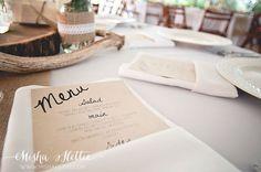DIY wedding menus on cardstock.