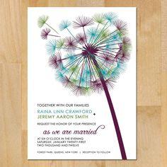 SAMPLE Blowing Dandelion Wedding Invitation by vohandmade on Etsy. , via Etsy.