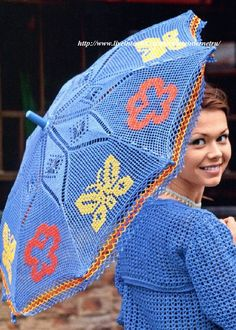 Crochet blue umbrella ❤️LCU-MRS❤️ with diagram