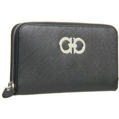 9d7085726662 Salvatore Ferragamo - Gancini Zip Around Wallet (Nero Saffiano) - Bags and  Luggage