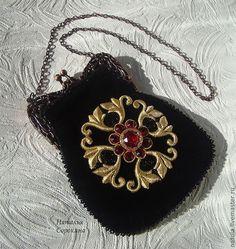 """Купить """"ROJO DE FLOR"""" cумочка-ридикюль - черный, орнамент, сумочка ручной работы"""