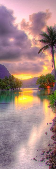 Sunset at the St. Regis Bora Bora Resort, French Polynesia.