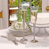 Sproducts — Brushed Rhinestone Personalized Champagne Flutes