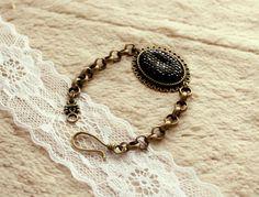 Bronze Black Bracelets, Set of Three Bracelets, Black Oval Cabochon, Heart Photo Locket, Vintage Romantic Slyle Jewelry - For Her