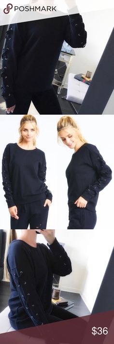 🆕 ✖️Long Sleeve Top // Pullover Sweatshirt This✖️ pullover top / sweatshirt is so cute on girls! You'll stay chic & cozy all Fall long in this top with lace sleeve accents. A semi-drop-shoulder features X- lace up accents on the side of long sleeves. Pair w/ any of my leggings & you're weekend ready. Garment dye. 100% cotton French terry. High quality. Boutique prices firm. Bundle 2+ for 10% off at checkout.  📸 w/ iPhone 7 Plus. Vendor photos #2 & #4. Tops Sweatshirts & Hoodies
