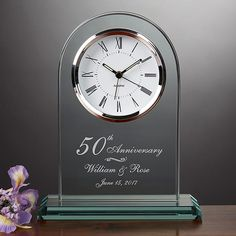 Celebrate the timeless love of their anniversary with the Everlasting Love Anniversary Clock. Personalize the sculpted, arched clock with any anniversary year and the couple's names and optional date, creating a lasting and loving keepsake. 50 Wedding Anniversary Gifts, Anniversary Clock, Golden Anniversary, Anniversary Ideas, Personalized Clocks, Personalized Wedding Gifts, Mother Poems, Everlasting Love, Wedding Ideas